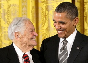 Pediatrician Brazelton smiles as he receives the Presidential Citizens Medal from US President Obama at the White House in Washington