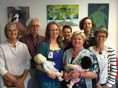 Campbell Paul and Susan Nicolson with NBO trainees in Shapparton, Australia
