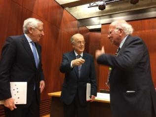 (r. to l.) Professor Gomes-Pedro, former President of Portugal. Jorge Sampaio, Artur Santos Silva, President of Gulbenkian.